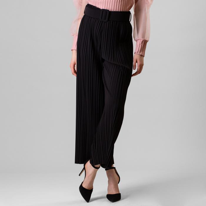 Pantalon plisat cu curea 3