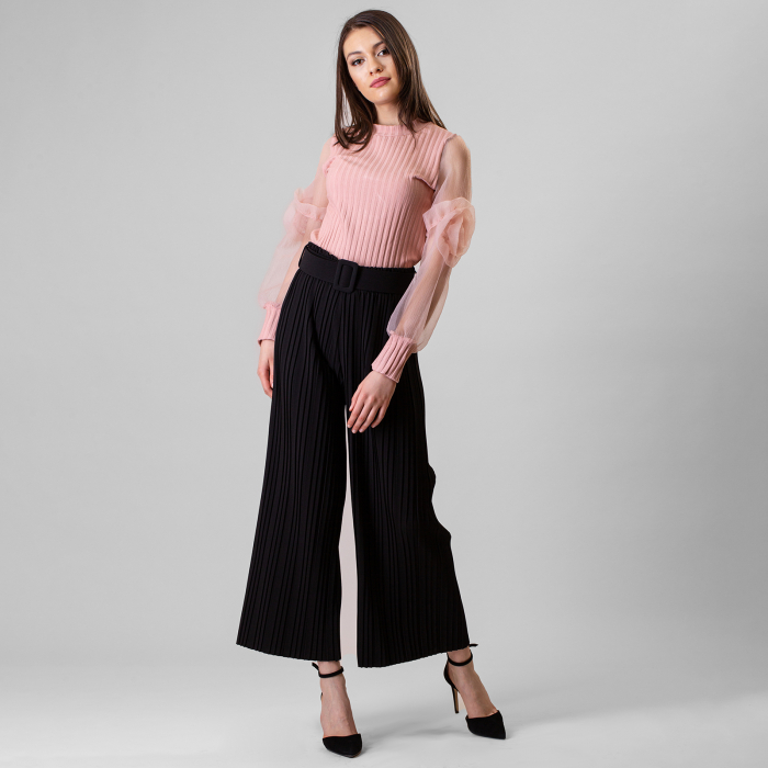 Pantalon plisat cu curea 0