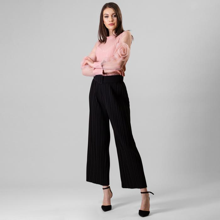 Pantalon plisat cu curea 4