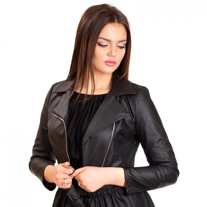 Jacheta scurta cu fermoar ,  din piele ecologica 0