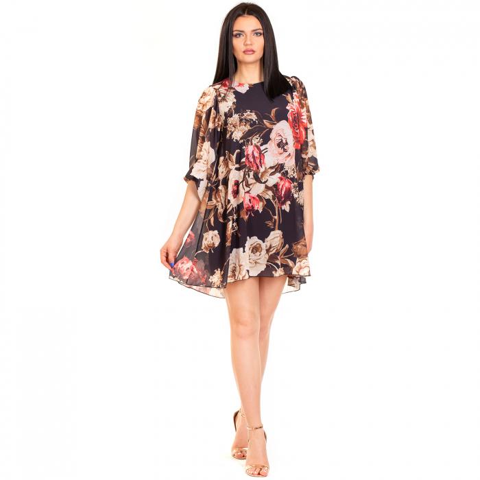 Rochie  din voal imprimeu floral , cu maneca bufanta cu elastic 0
