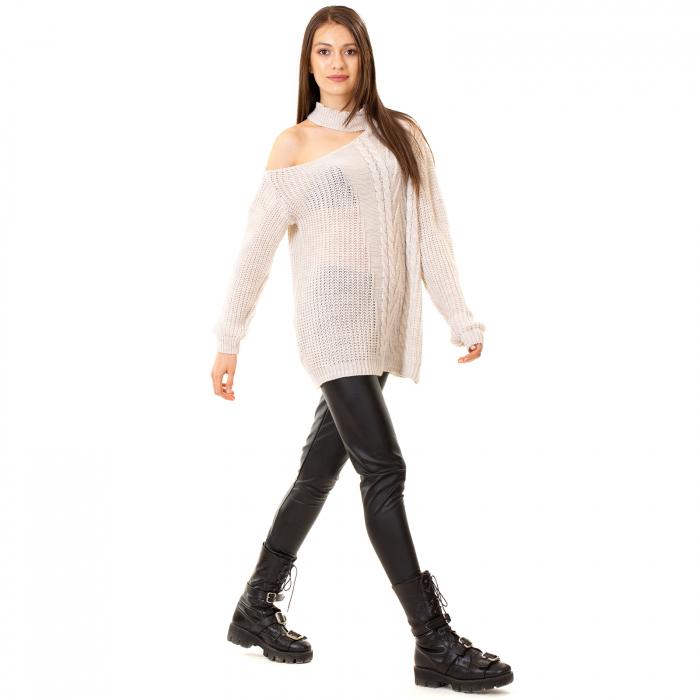 Bluza tricotata cu umarul gol 3