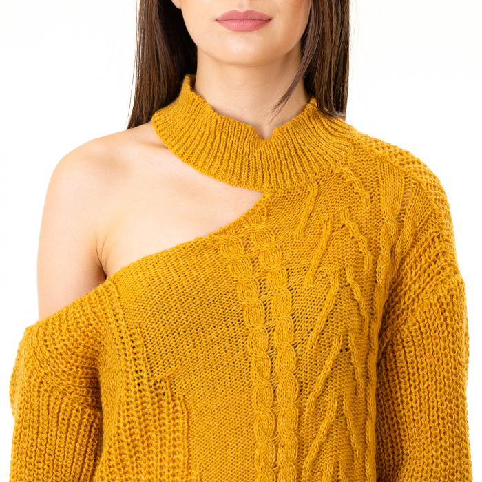 Bluza tricotata cu umarul gol [5]