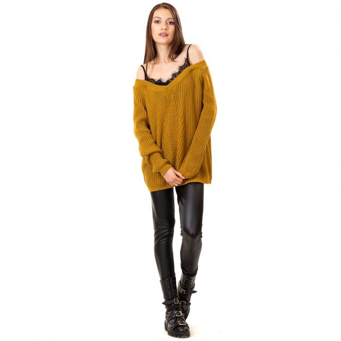 Bluza tricotata cazuta pe umeri 0