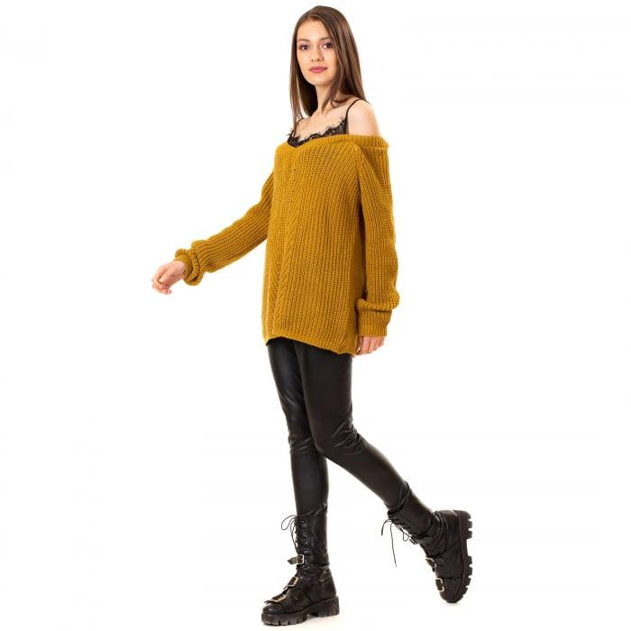 Bluza tricotata cazuta pe umeri 3