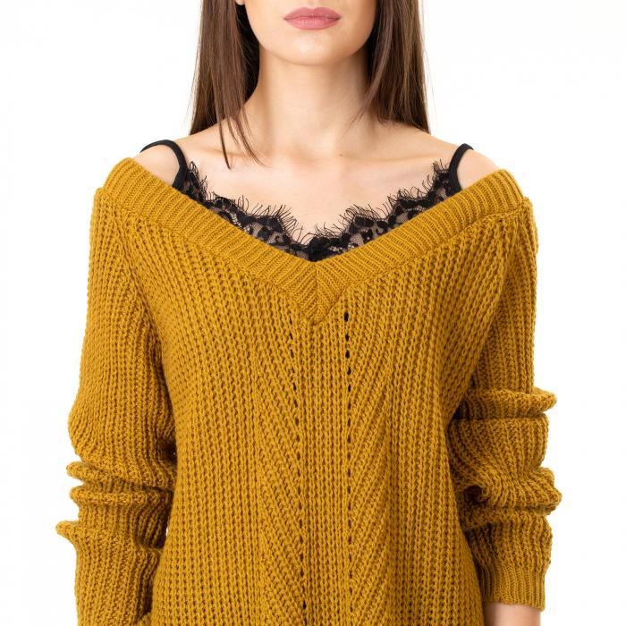 Bluza tricotata cazuta pe umeri 5