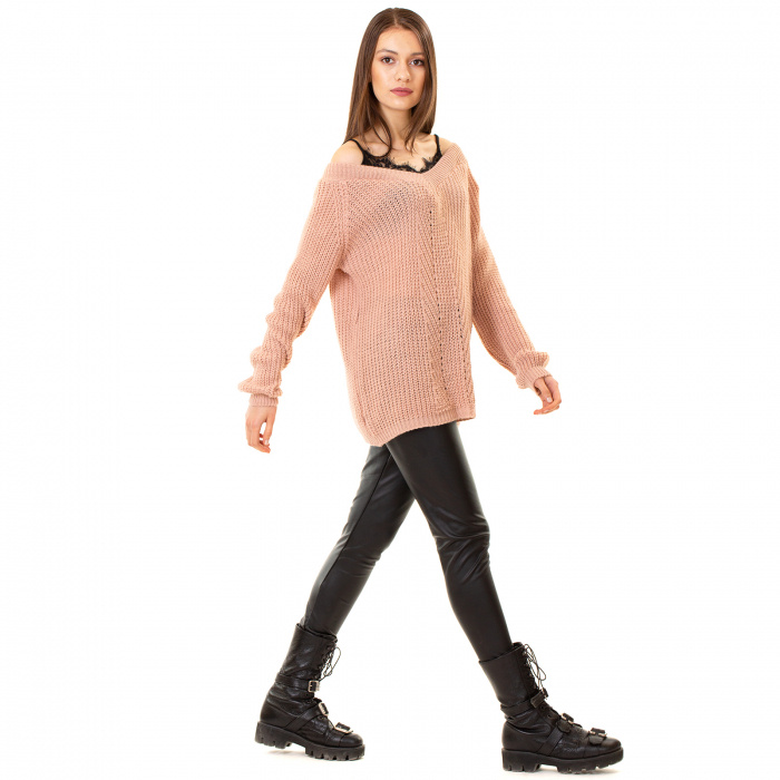 Bluza tricotata cazuta pe umeri 1