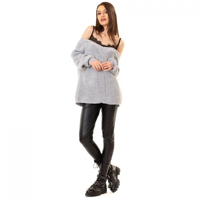 Bluza tricotata cazuta pe umeri 2