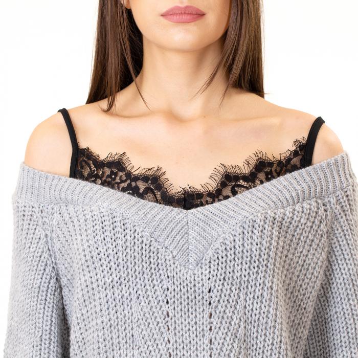Bluza tricotata cazuta pe umeri [4]