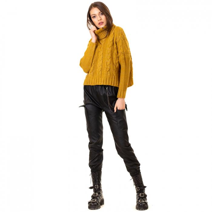 Bluza scurta tricotata cu guler rol 0