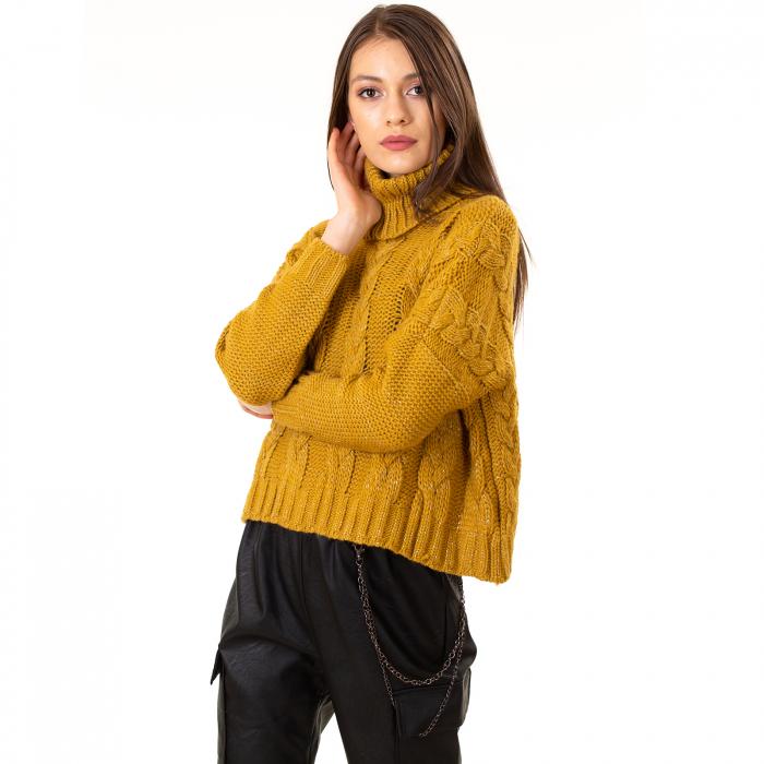 Bluza scurta tricotata cu guler rol [5]