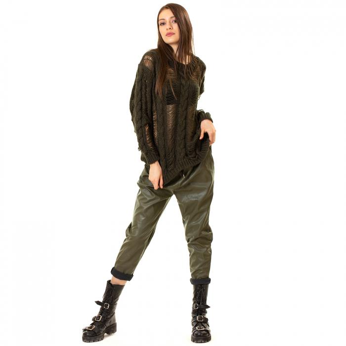 Pantalon piele ecologica cu buzunare 2