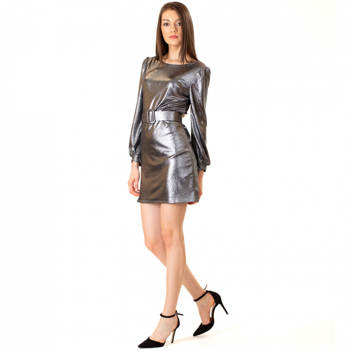 Rochie material lucios si curea [2]