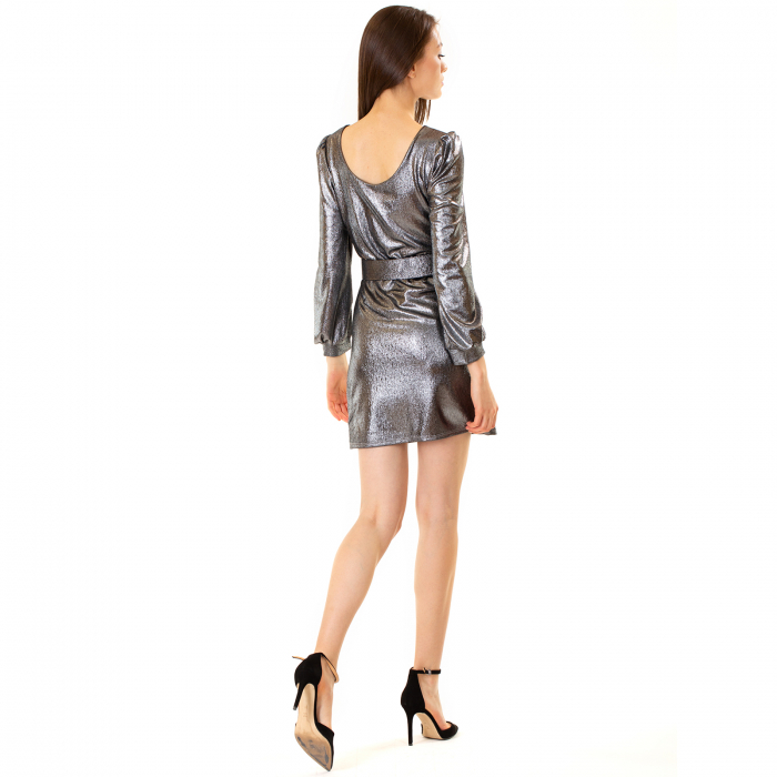 Rochie material lucios si curea [3]