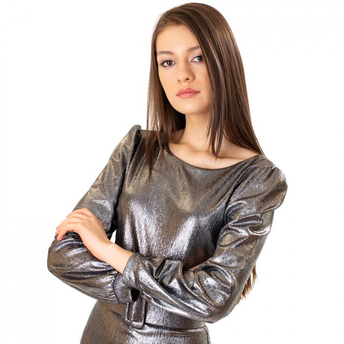 Rochie material lucios si curea [4]