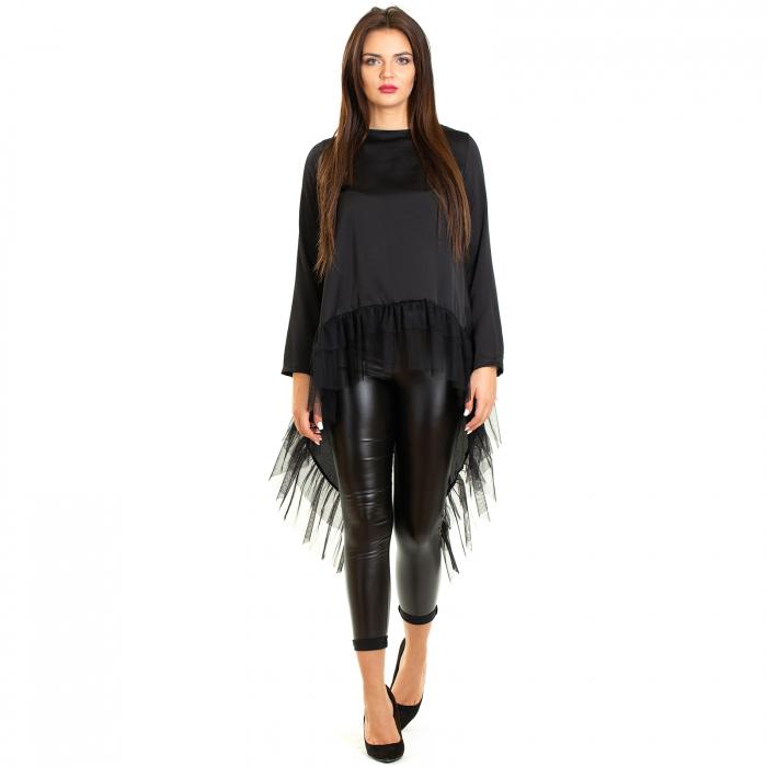 Bluza  din saten  negru cu voal 1