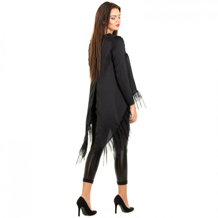 Bluza  din saten  negru cu voal 2