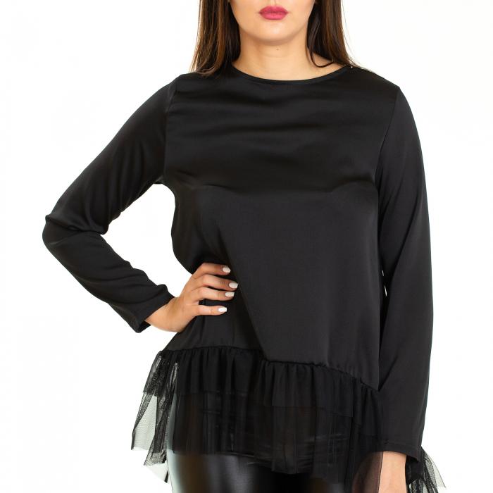 Bluza  din saten  negru cu voal 4