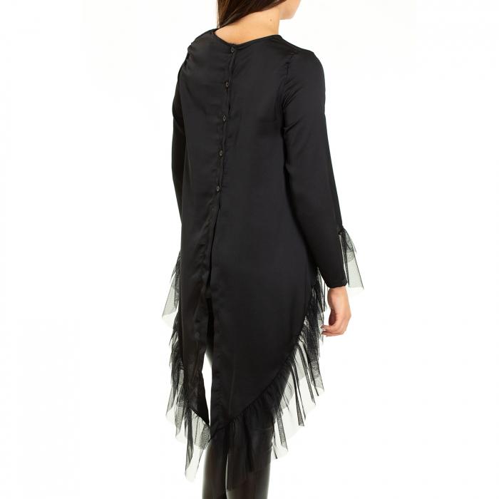 Bluza  din saten  negru cu voal 5