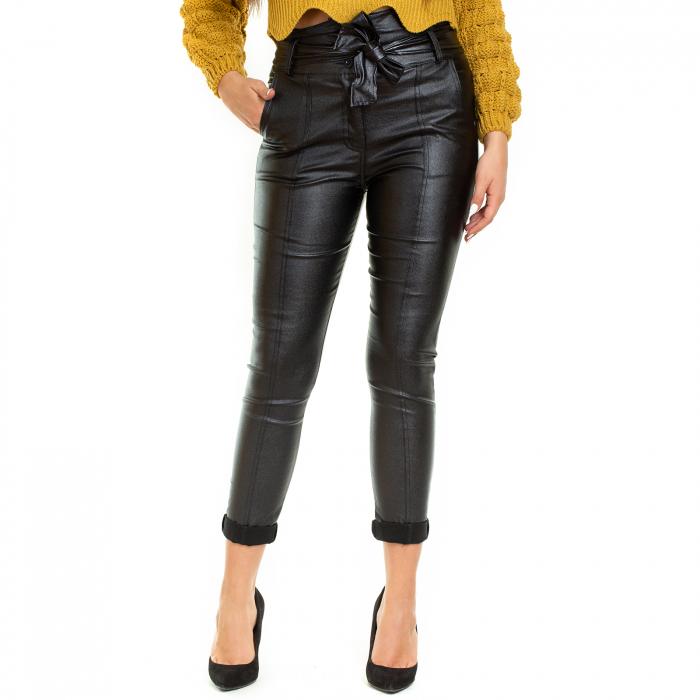 Pantalon din piele ecologica cu reflexie metalica 2