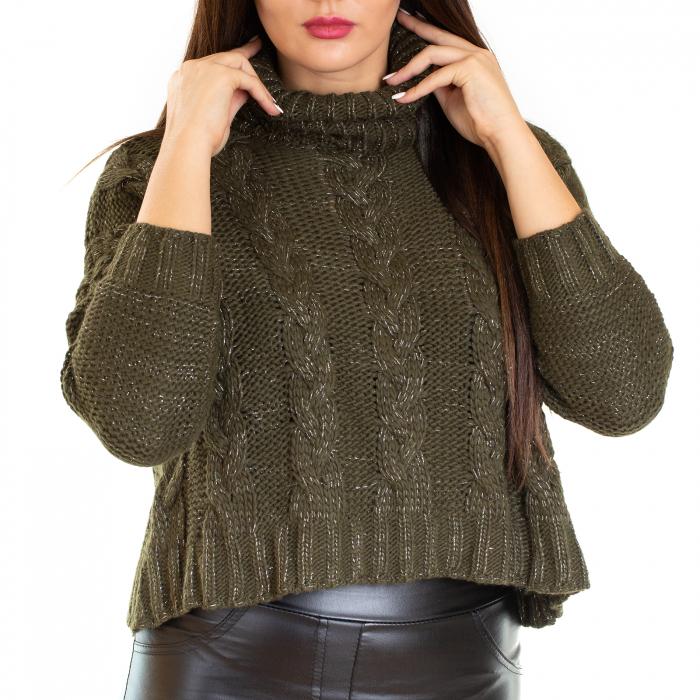 Bluza scurta  tricotata, guler rol 1