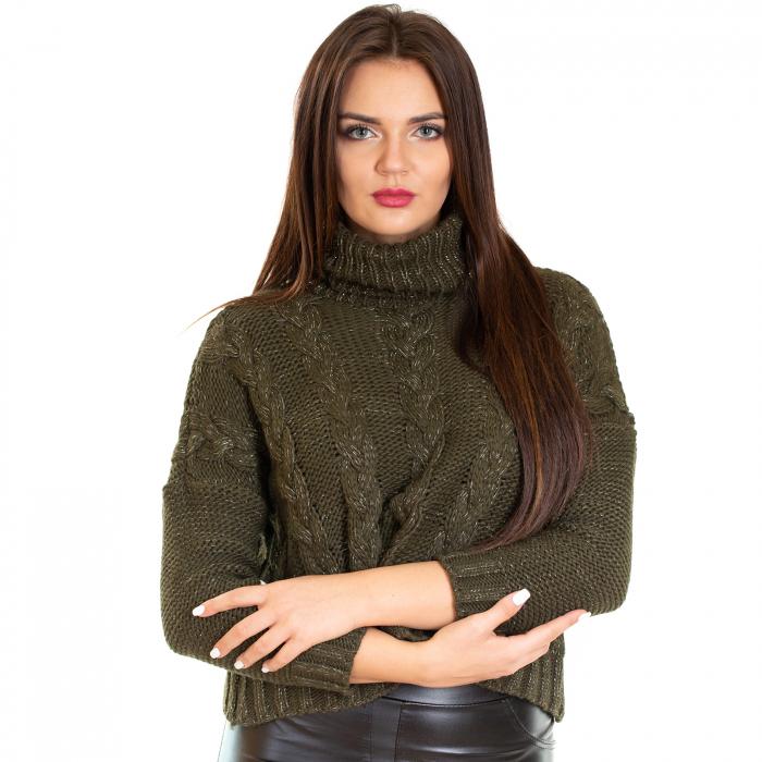 Bluza scurta  tricotata, guler rol 2