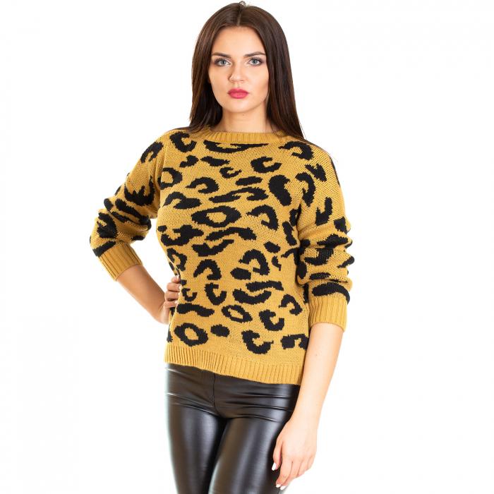 Bluza tricotata scurta animal print 2