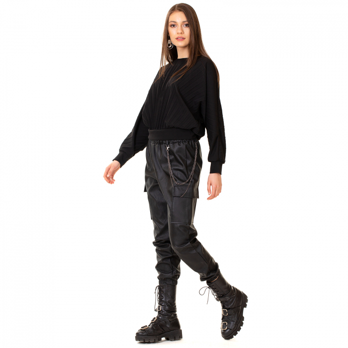 Pantalon piele ecologica cu lant 6