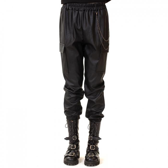Pantalon piele ecologica cu lant 0