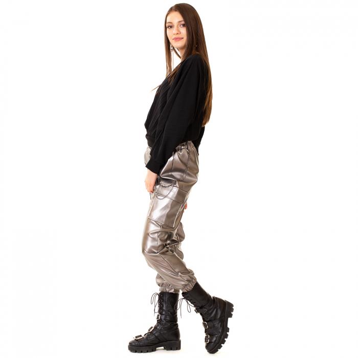 Pantalon piele ecologica cu lant [3]