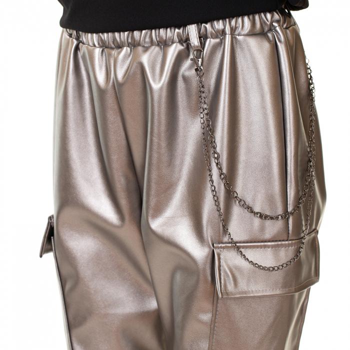 Pantalon piele ecologica cu lant [1]