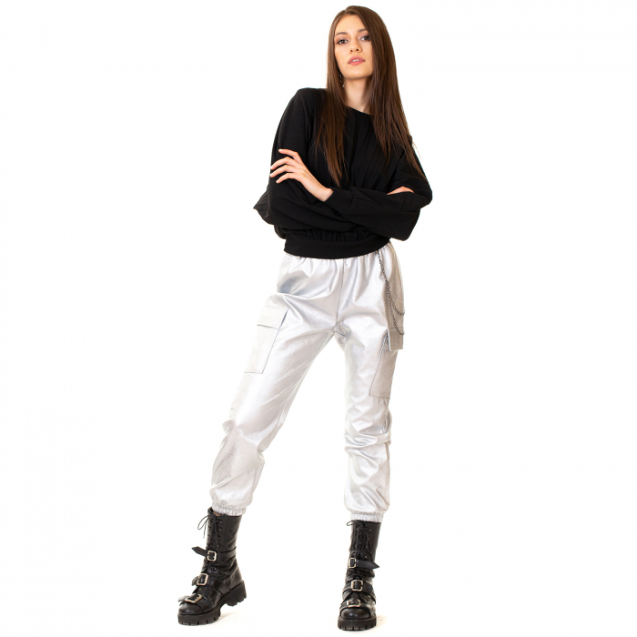 Pantalon piele ecologica cu lant [2]