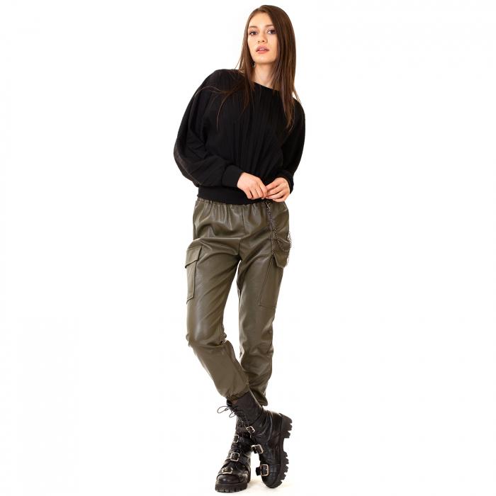 Pantalon piele ecologica cu lant 2