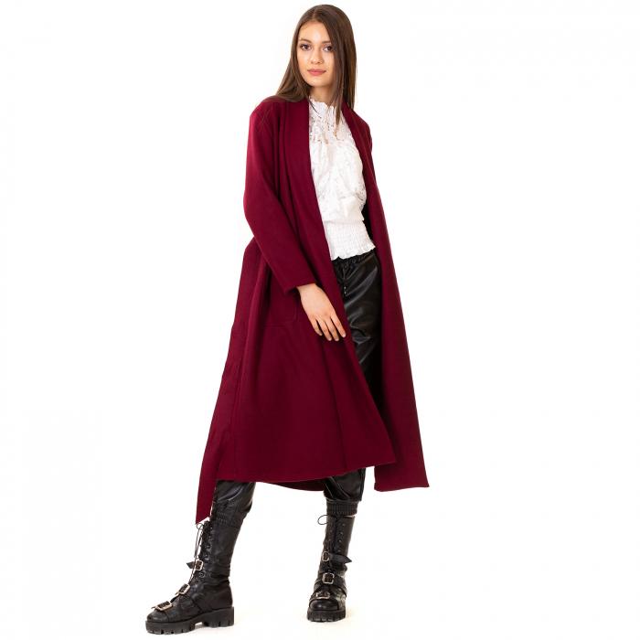 Palton lung cu cordon in talie 2