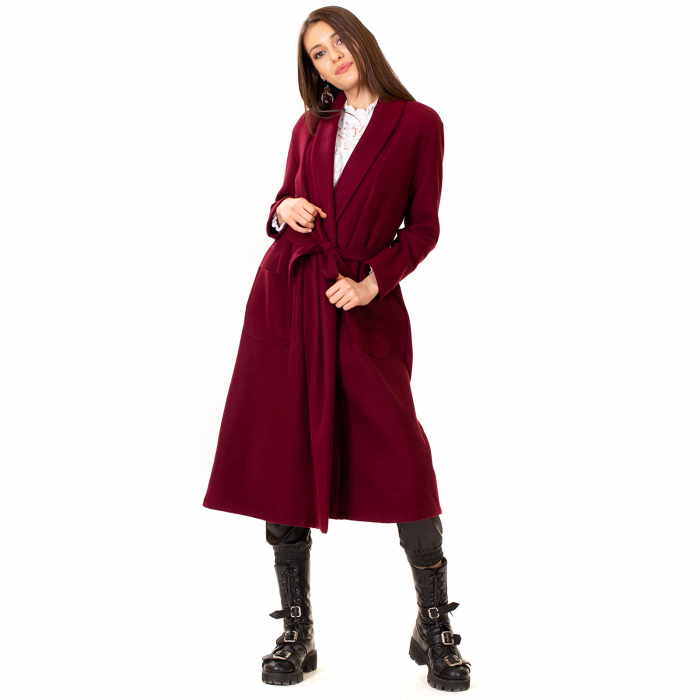 Palton lung cu cordon in talie 4