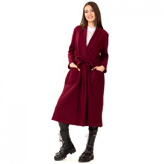 Palton lung cu cordon in talie 0