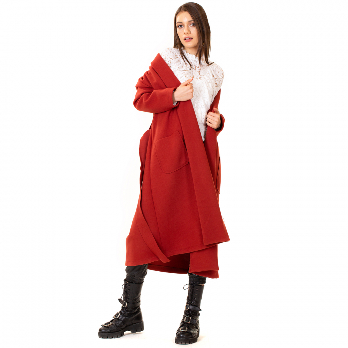 Palton lung cu cordon in talie 3