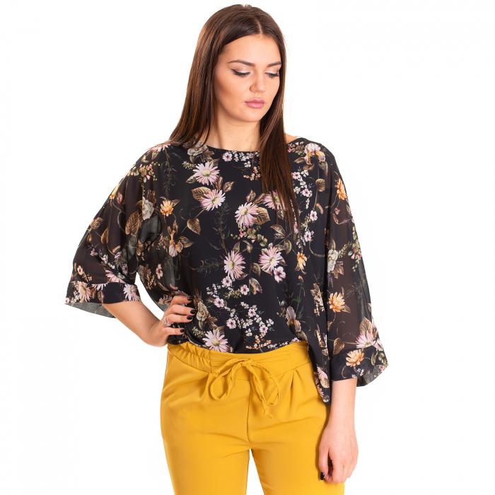 Bluza voal imprimeu floral, maneca fluture cu manseta 1