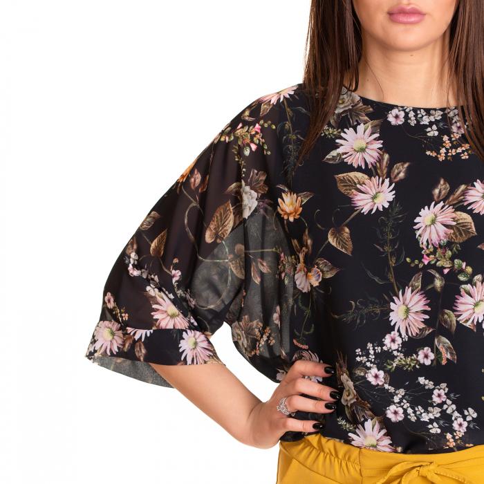 Bluza voal imprimeu floral, maneca fluture cu manseta 0