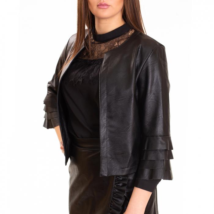 Jacheta piele ecologica cu volane la maneca 1