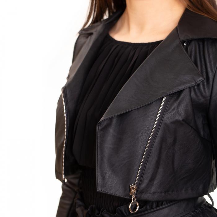 Jacheta scurta cu fermoar ,  din piele ecologica 2