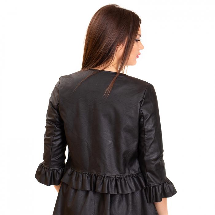 Jacheta scurta cu  volane  si fermoar  ,  din piele ecologica 1