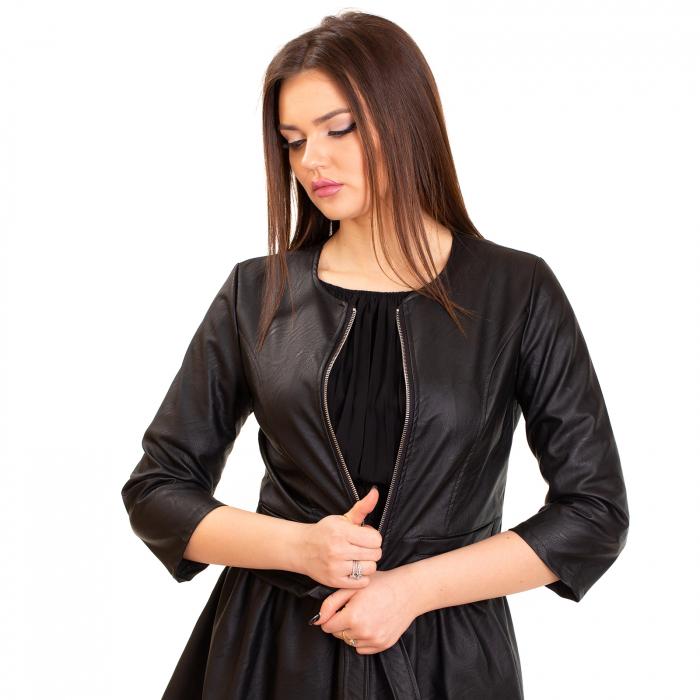 Jacheta scurta cu buzunare , din piele ecologica 3