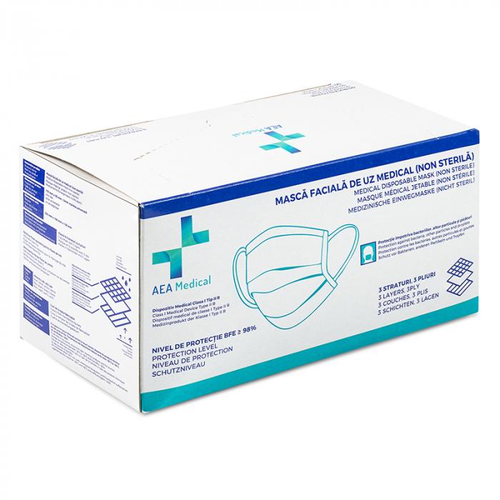 Masca faciala de  protectie de tip chirurgical FFP1    / ambalare *1 CUTIE 50 buc /  marca proprie AEA MEDICAL produs in ROMANIA / SIBIU -culoare MOV INDIGO [5]