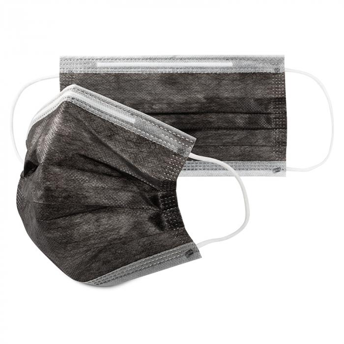 Masca de protectie tip chirurgical FFP1 Clasa1 TIP II R / ambalare *1 CUTIE 50 buc / marca proprie AEA MEDICAL produs in ROMANIA / SIBIU -culoare NEGRU [0]