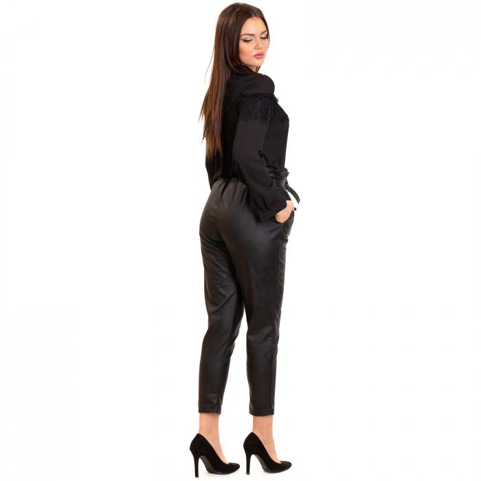 Pantalon cu cordon ,  conic din piele ecologica 2