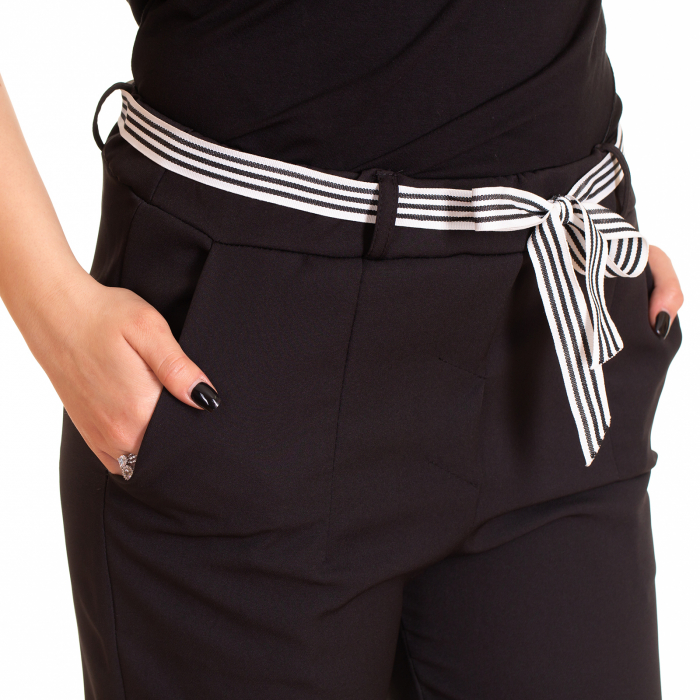 Pantalon cu funda alb negru in talie 1