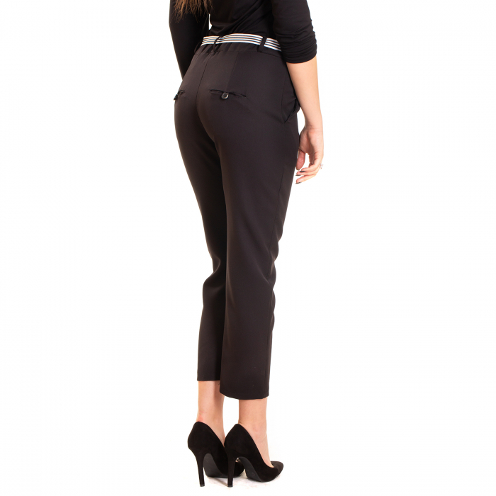 Pantalon cu funda alb negru in talie 2