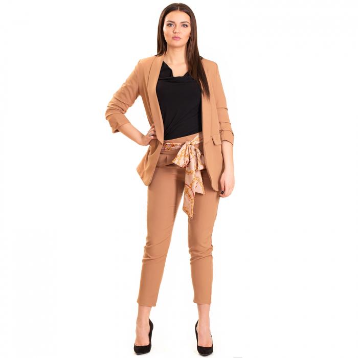 Pantalon  cu funda de saten  in talie 0
