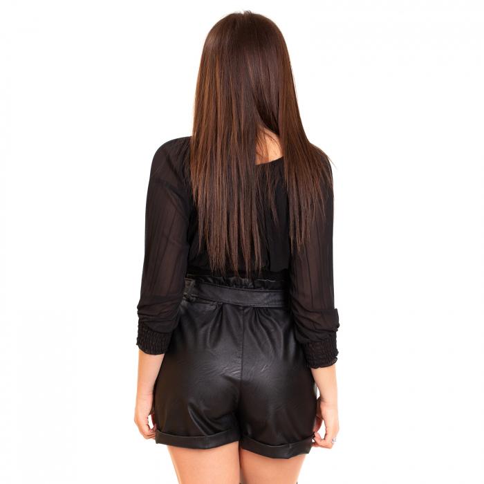 Pantalon scurt  din piele ecologica cu cordon 2